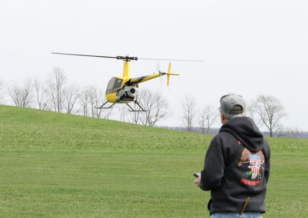 pilot with RC helicopter